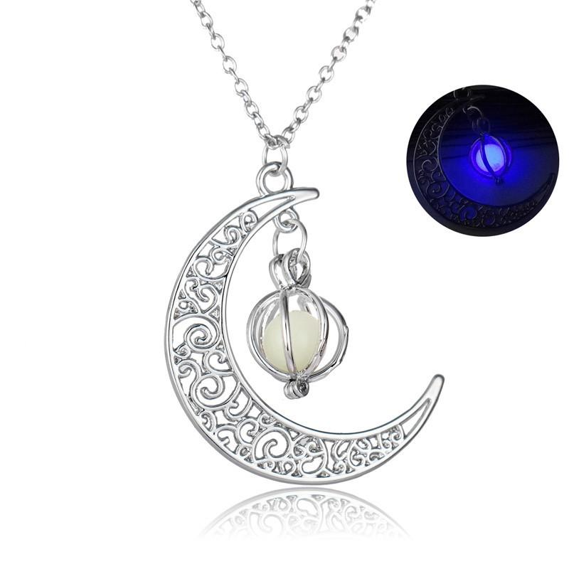 Glow In the Dark Moon Pendent Necklace