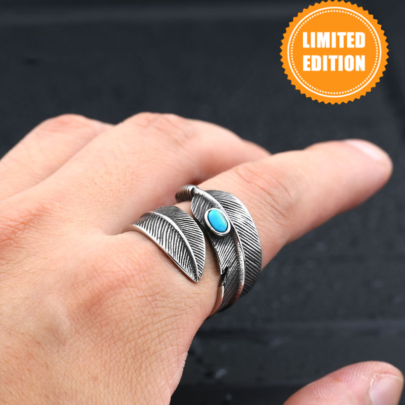 Feather Ring with Stone