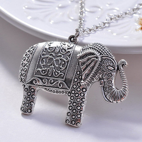 Trunk Up Elephant Necklace