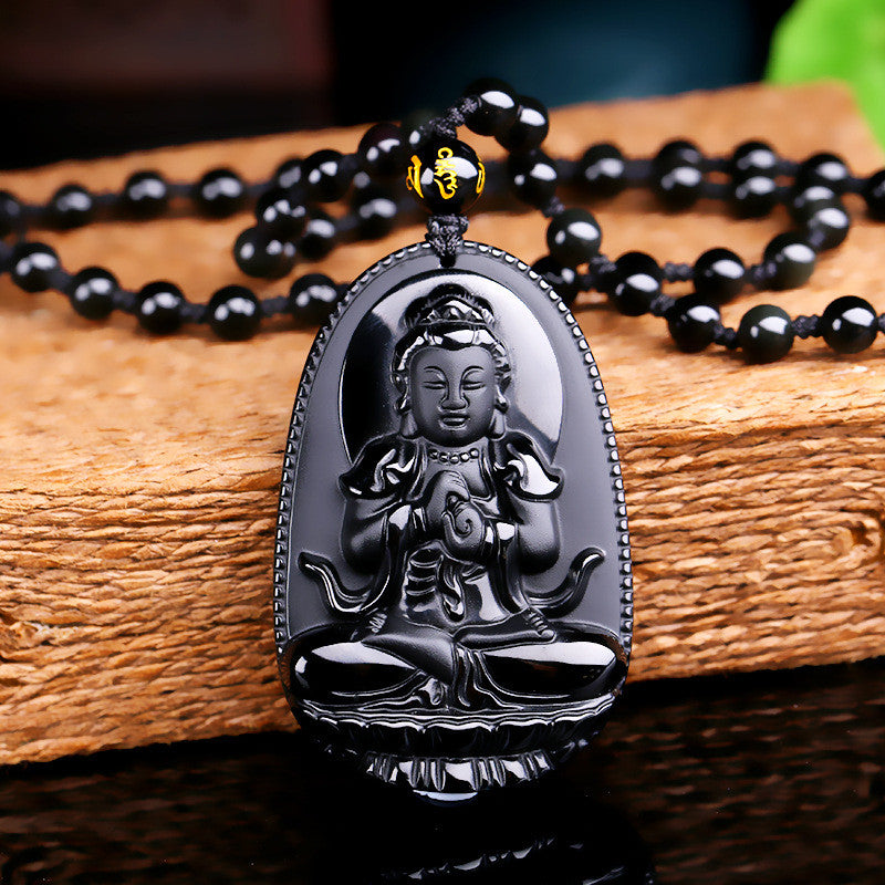 Obsidian Carved Buddha Pendant Necklace