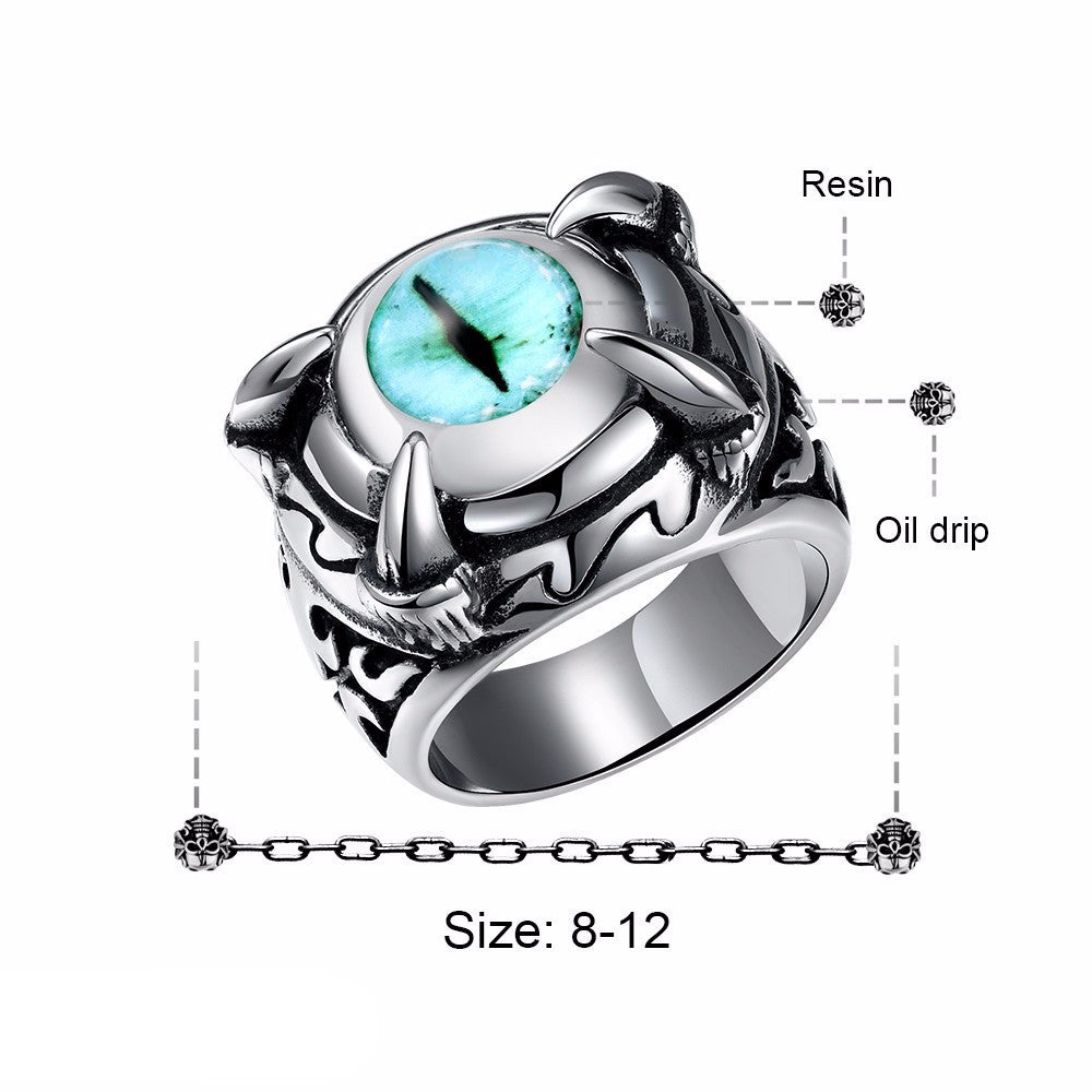 Vintage Stainless Steel Dragon Eye Ring