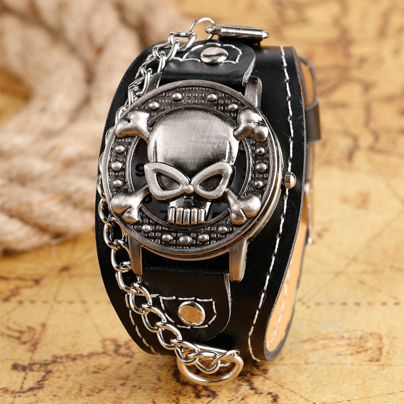 Leather Skull Watch