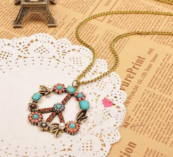 Peace Sign Hippie Necklace