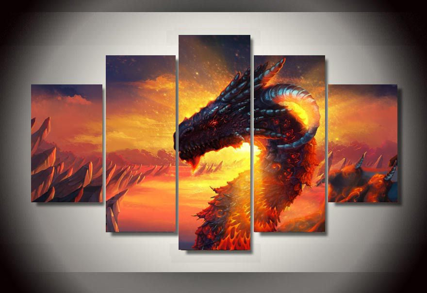 5 Pieces Fiery Dragon Canvas Painting
