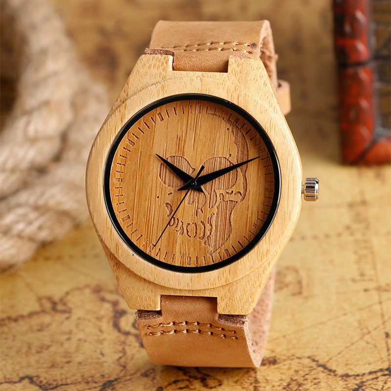 Skull Bamboo Wooden Quartz Watches