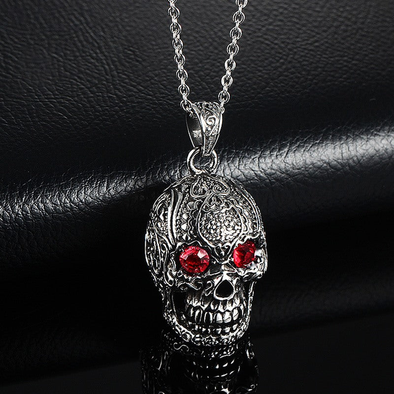 Red Cubic Skull Necklace