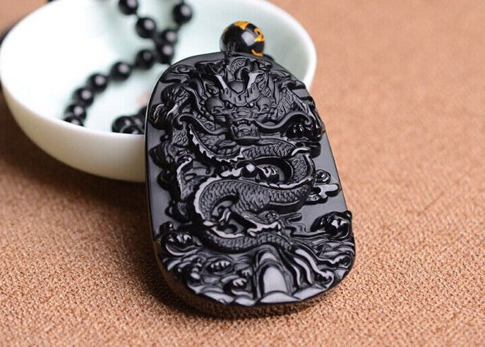 Obsidian Stone Dragon Necklace
