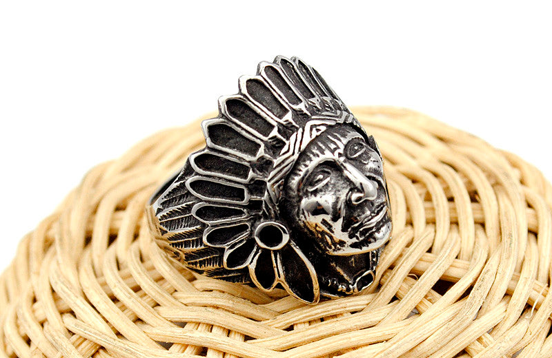 Native Tribe Chief Head Ring