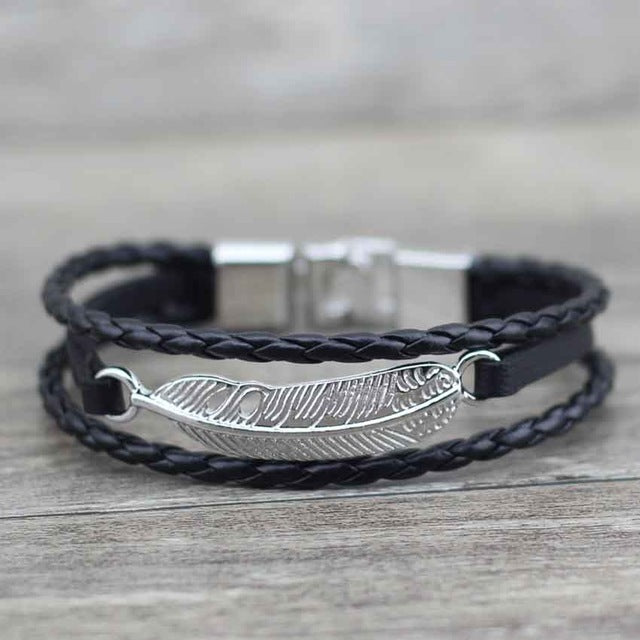 Leather Feather Arrow Bracelet