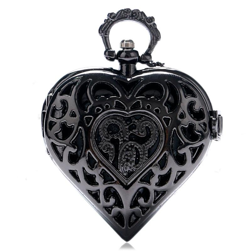 Dark Black Heart Pocket Watch Necklace