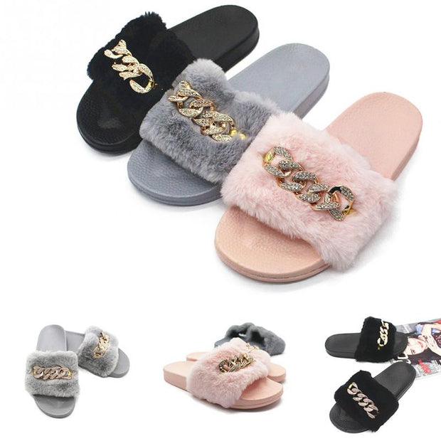 Fur Diamante Chain Slides
