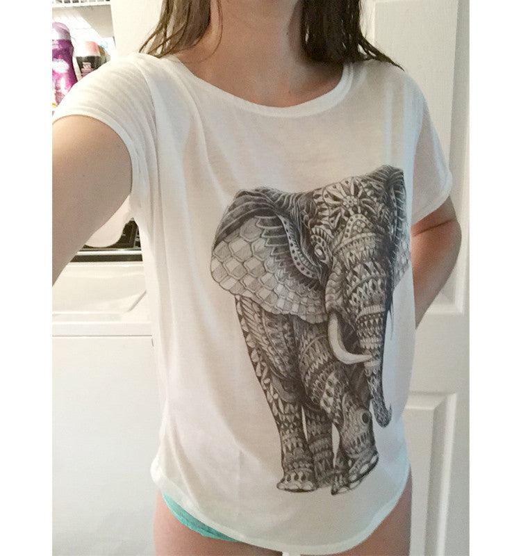 Womens Elephant Print T Shirt