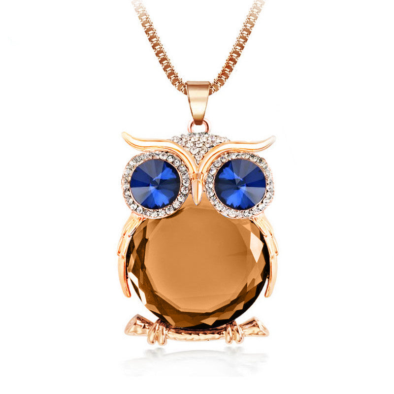 Trendy Rhinestone Owl Necklace