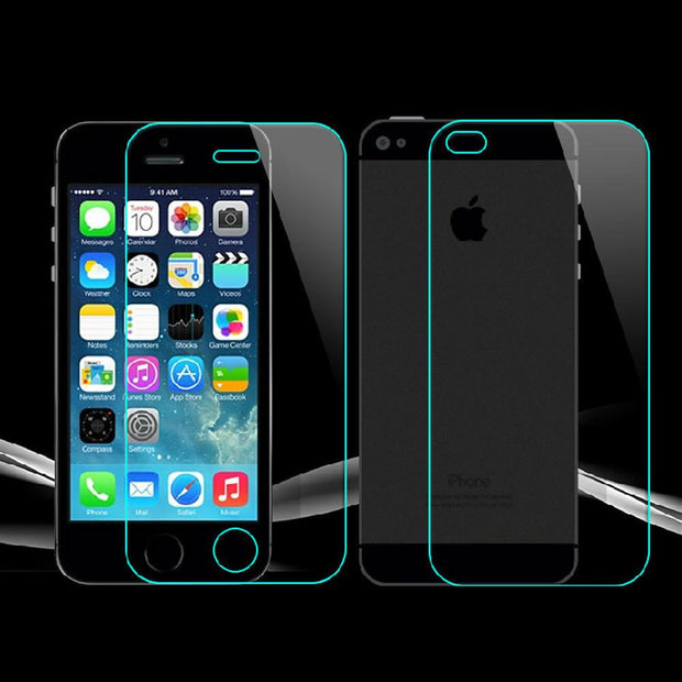 iPhone 4, 4s,5, 5s, 5c, 6, 6s, 6plus, 6splus Front + Back Screen Protector