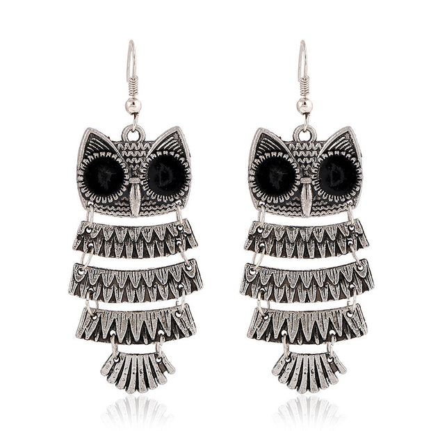 Antique Silver Owl Earrings