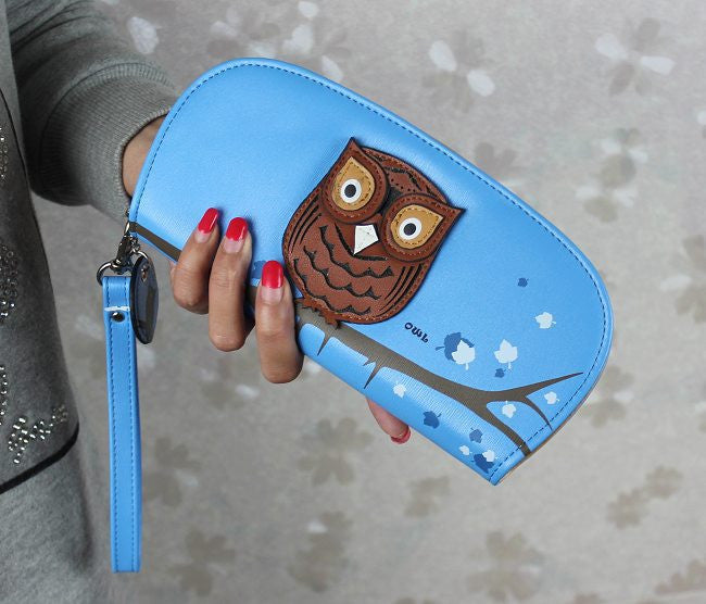 Leather Owl Clutch Purse