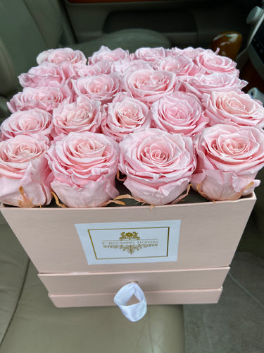 PINK ROSES THAT LAST A YEAR with chocolates - K-BLOOMING FLOWERS