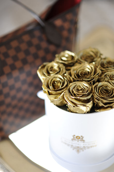 GOLD Real Roses That Last A Year in a Signature Box - K-BLOOMING FLOWERS