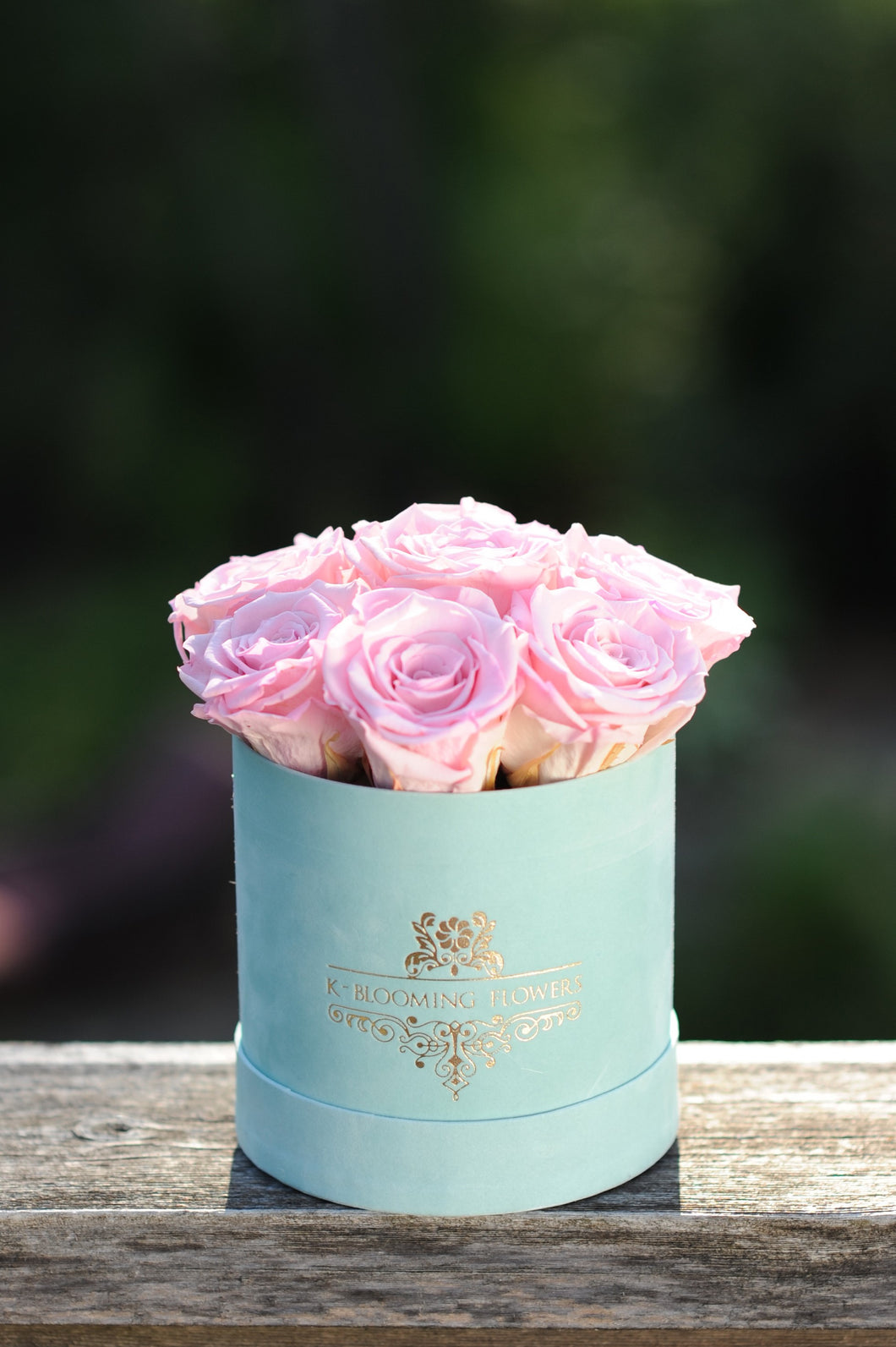 Pink Real Roses That Last A Year in a Signature Velvet  Box - K-BLOOMING FLOWERS