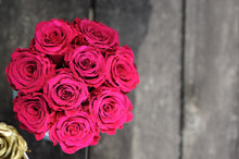 Deep PINK Everlasting Roses in a Signature Velvet Pink Box. Small - K-BLOOMING FLOWERS