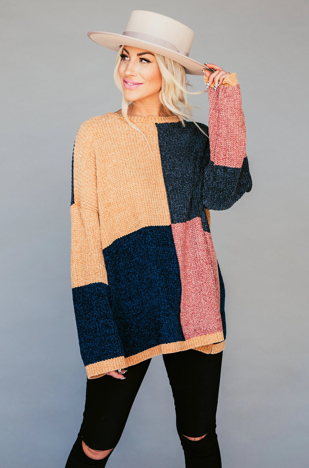 Honey Honey Colorblock Knit in Navy