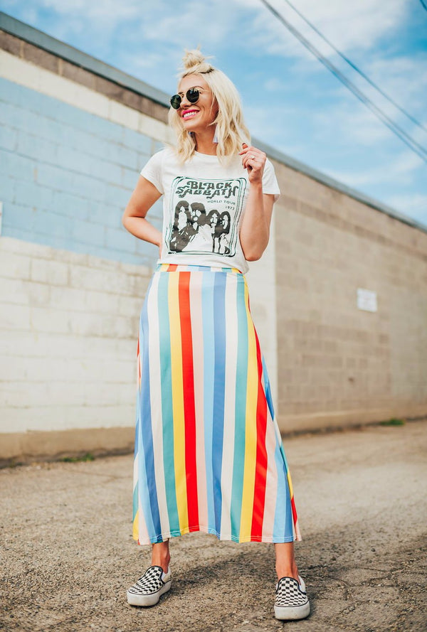 Rainbow Road Striped Skirt