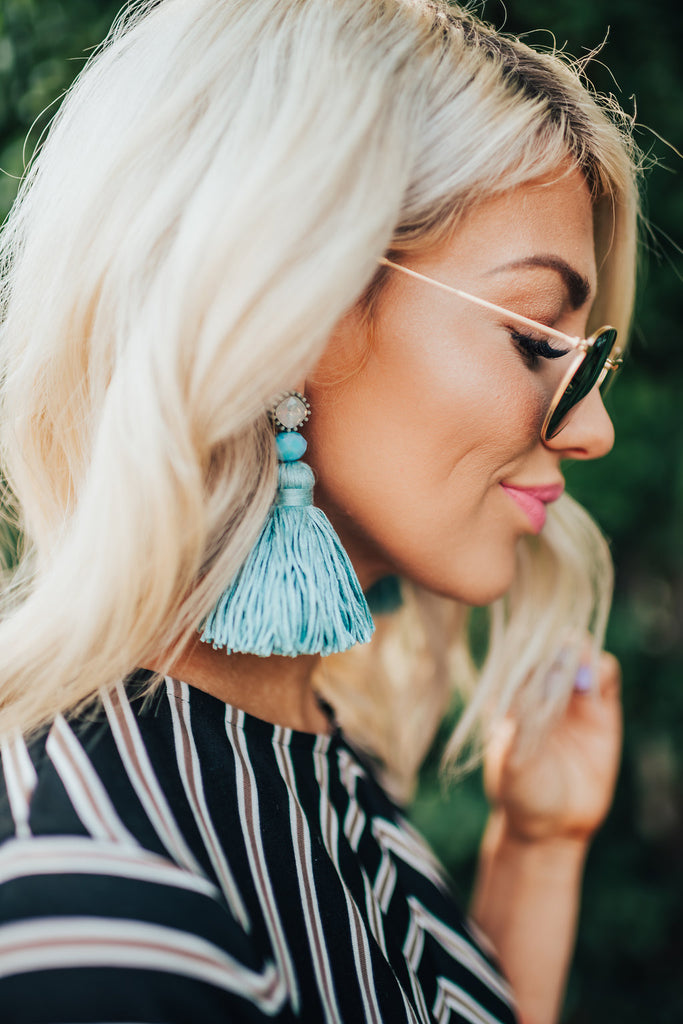 Hollywood Light Blue Tassel Earrings