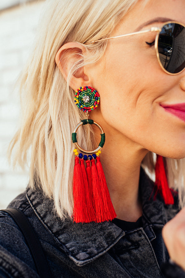 Red Hot Fringe Earrings