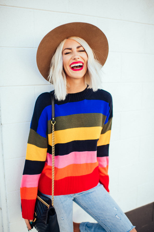 Bold Luxe Rainbow Sweater