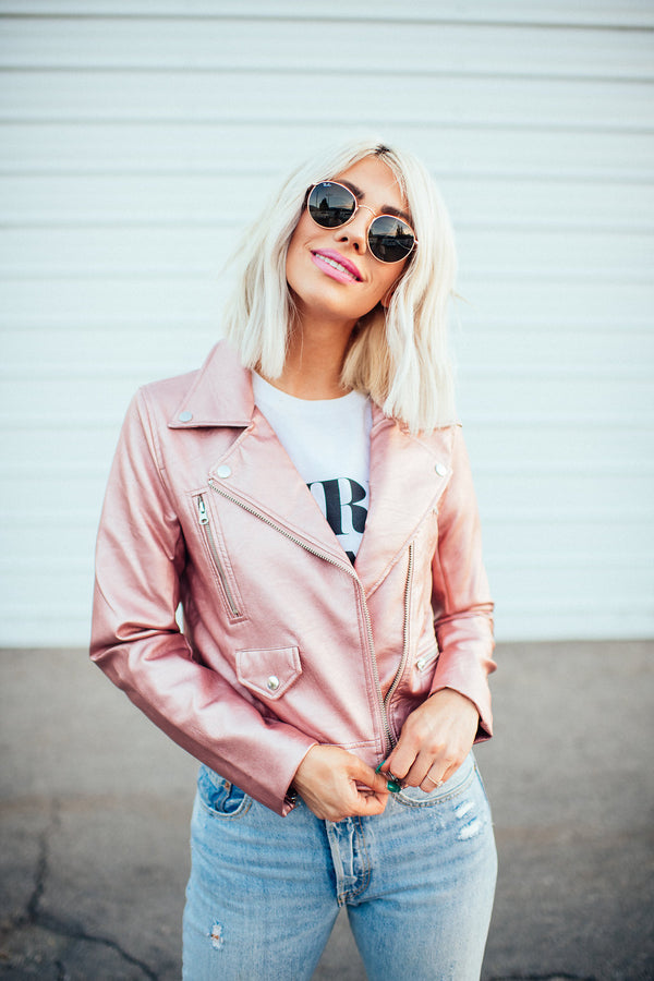 Rose Gold Luxe Moto Jacket