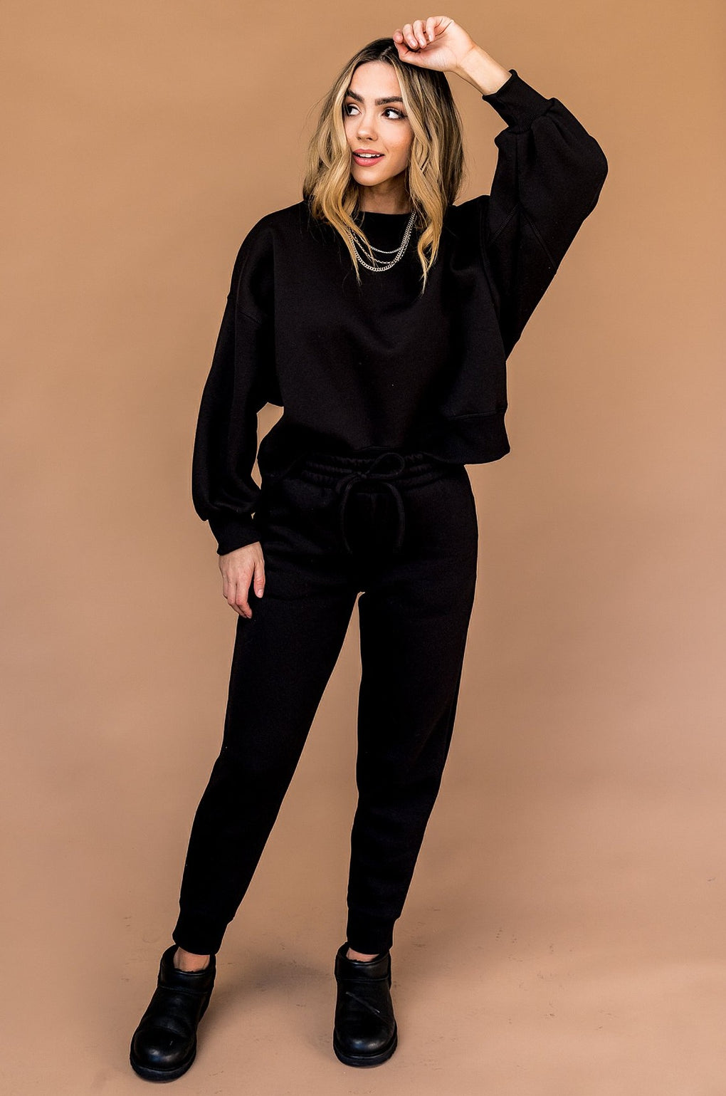 Casual But Make it Chic Sweat Set in Black *RESTOCKED*