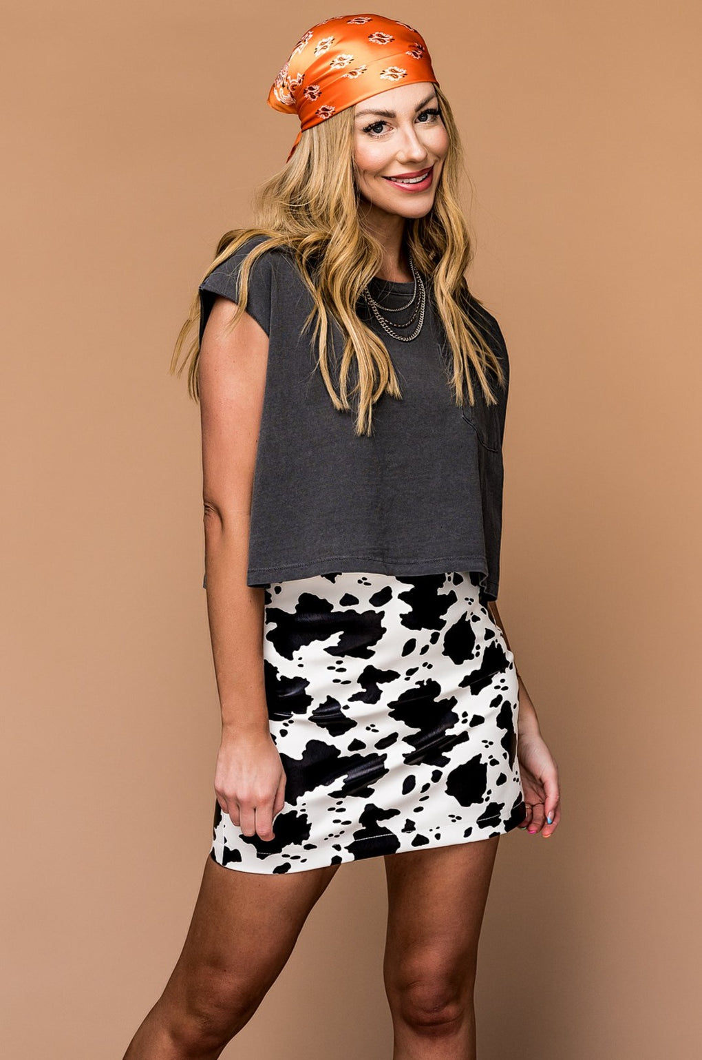 Cookies and Cream Vegan Leather Mini Skirt