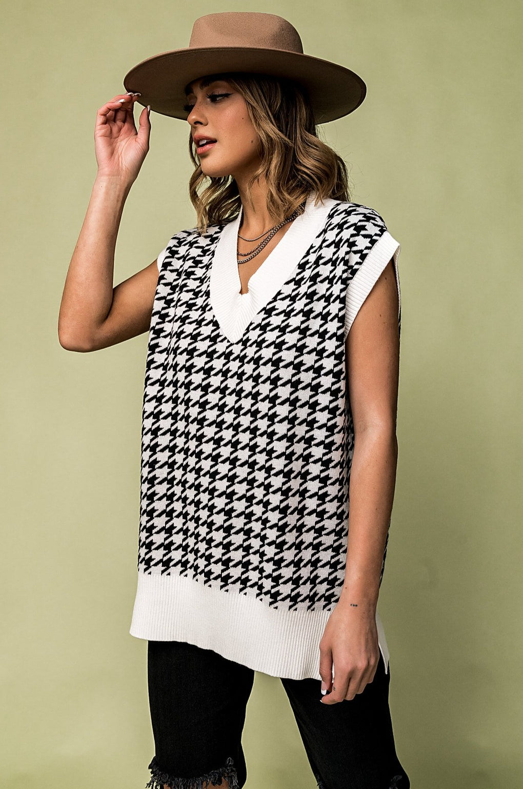 That's My Girl Oversized Houndstooth Sweater Vest