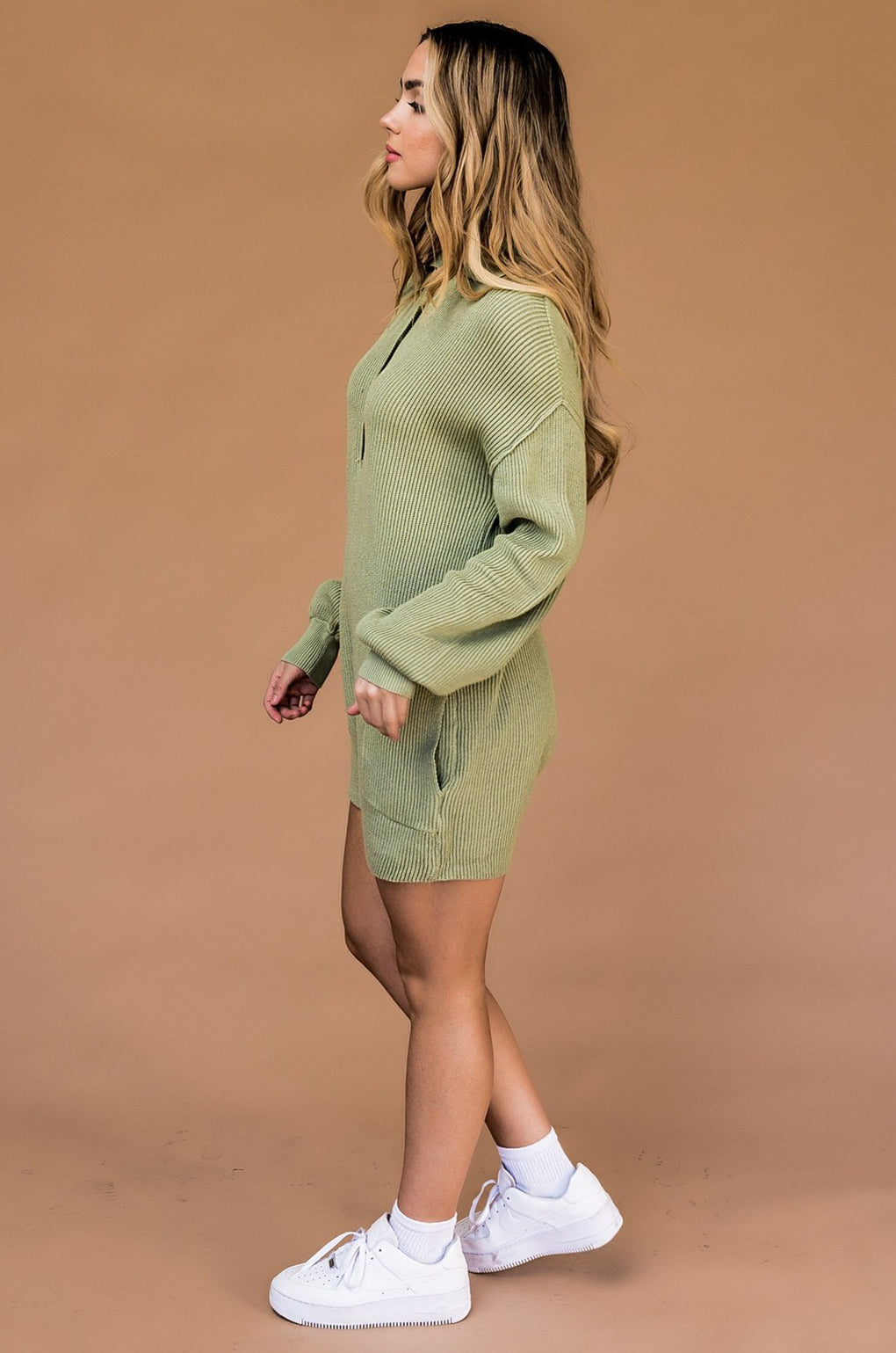 Coffee and Cream Knit Romper in Sage