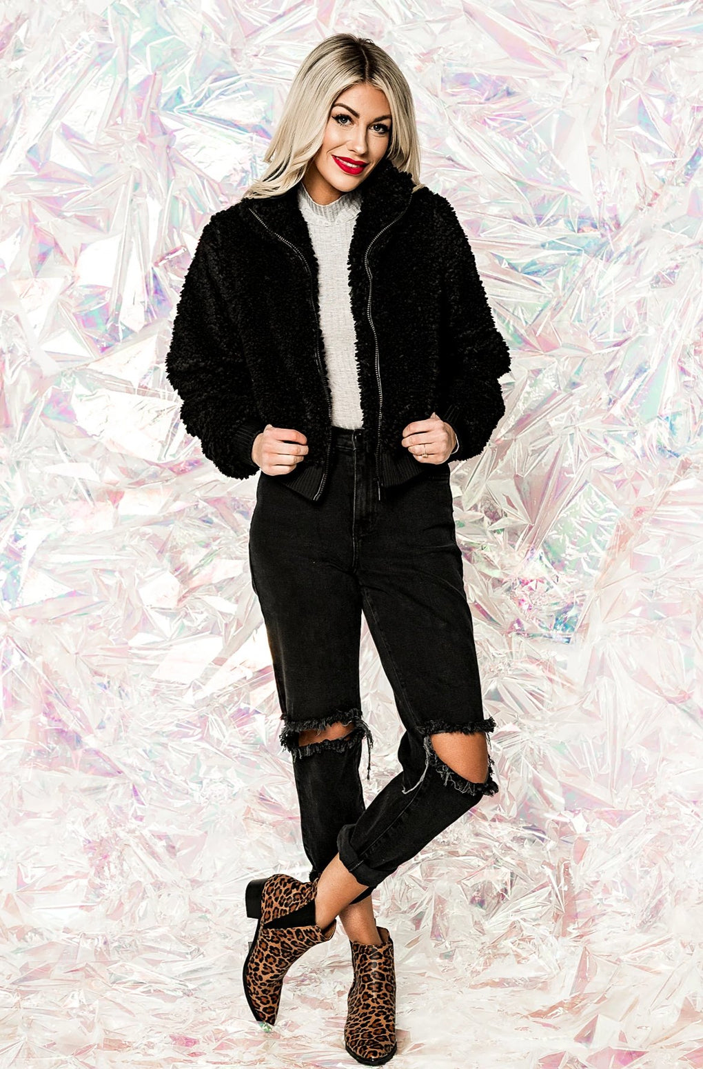 Footloose Cropped Sherpa Bomber
