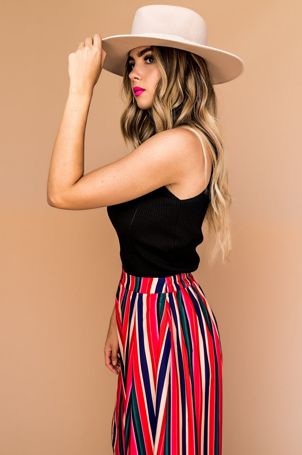 Fool Me Striped High-Waisted Pants in Sugar Rush