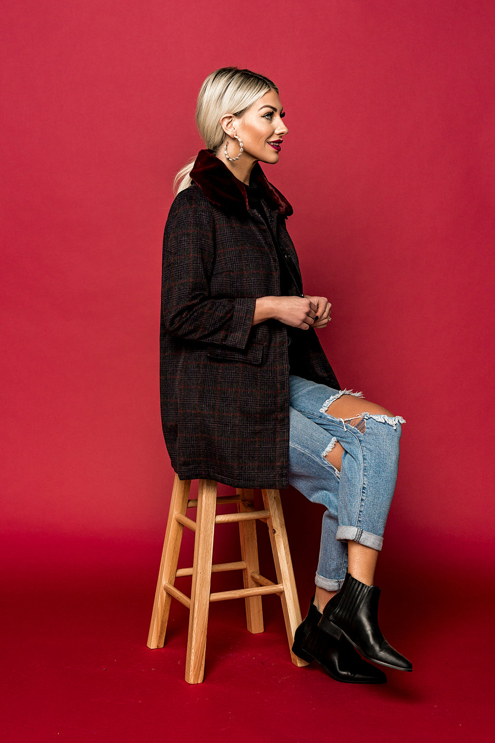 Winter In Chicago Plaid Coat