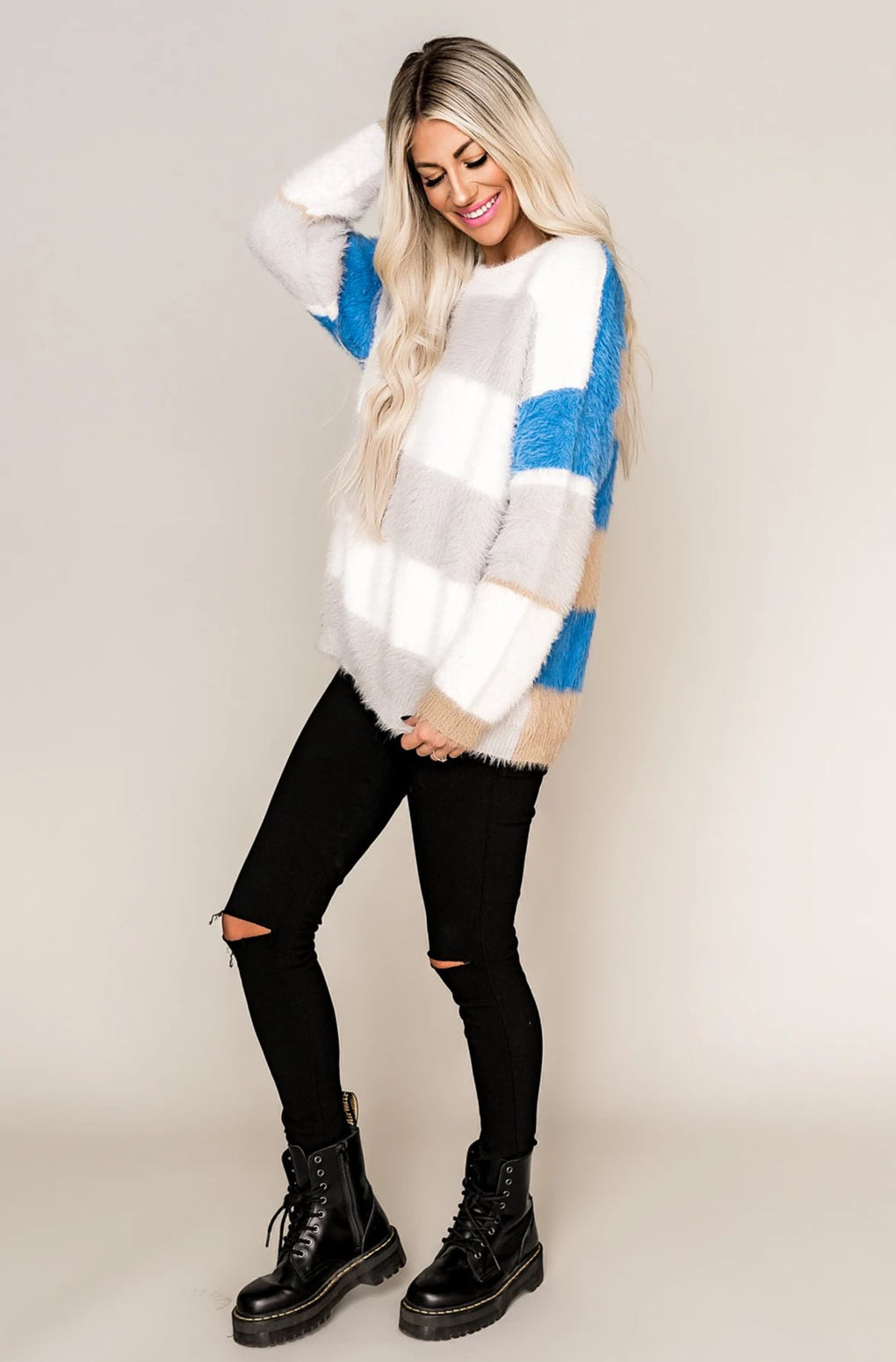 BFF Striped Sweater in Blue
