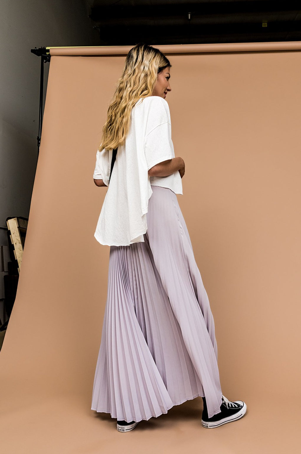 Electric Love Pleated Skirt in Grey