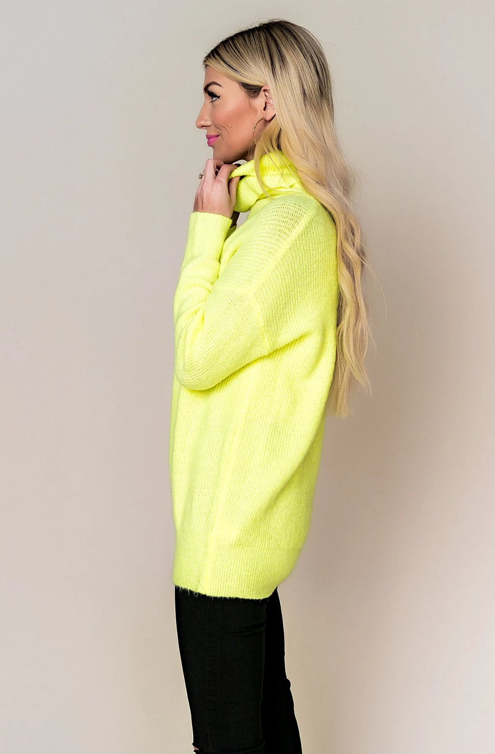 Neon Glow Turtleneck Knit
