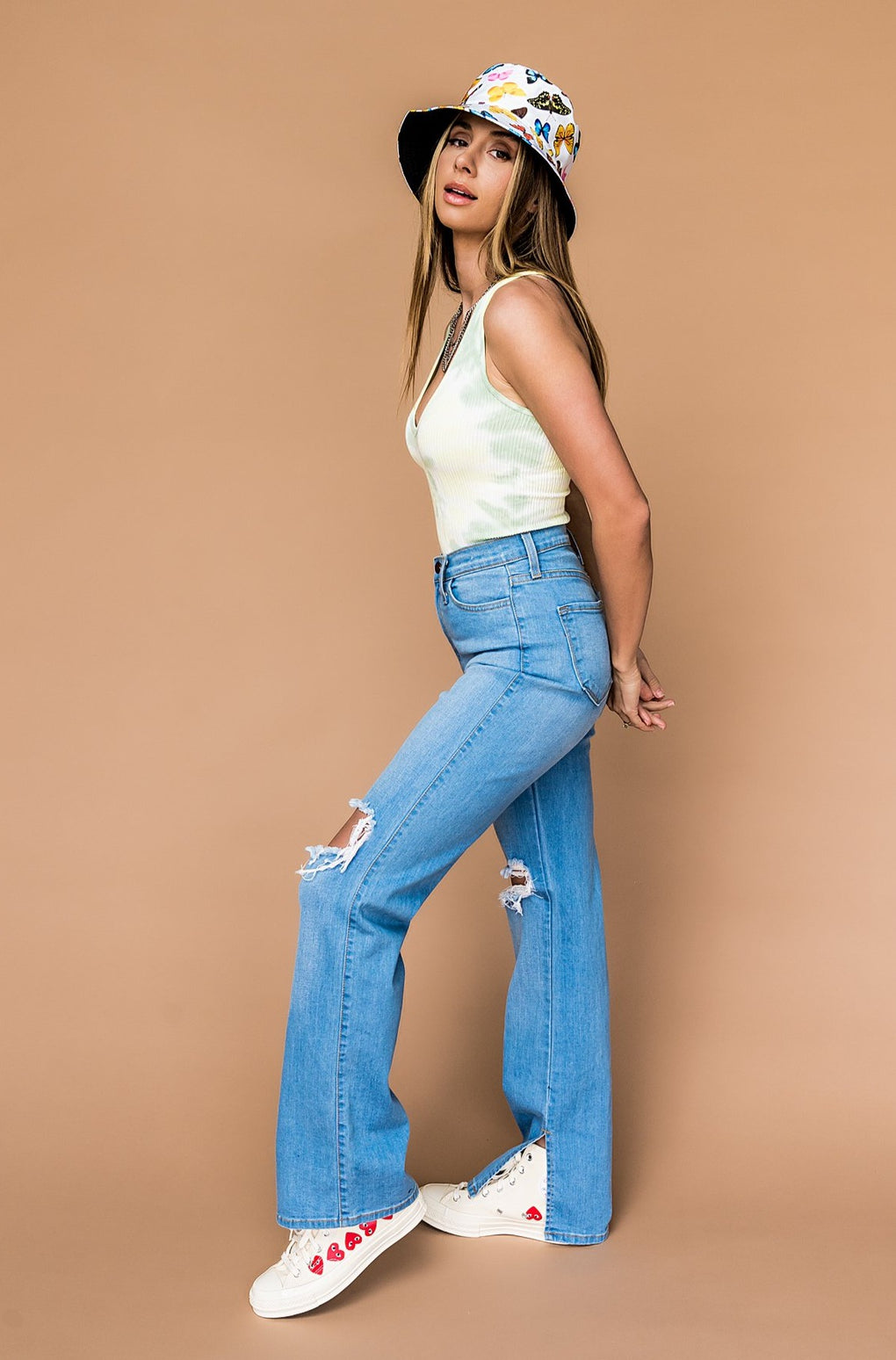 Fiona Distressed Wide Leg Jeans