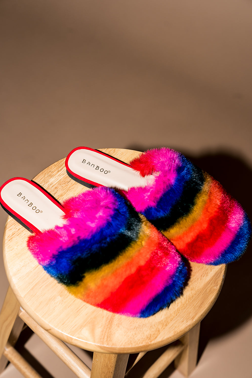 Rainbow Daze Faux Fur Mules