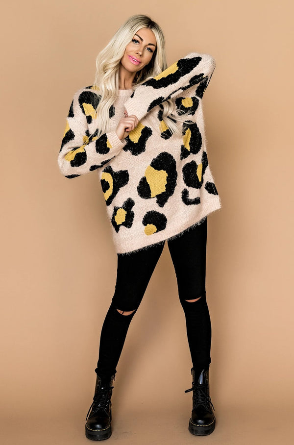 Killer Queen Fuzzy Leopard Sweater