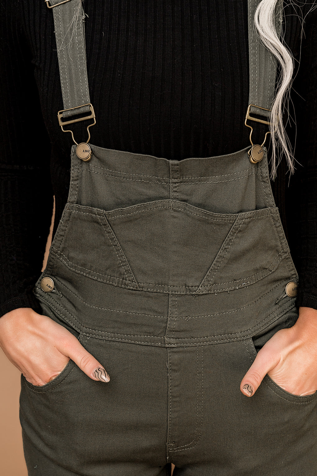 City Girl Overalls in Olive