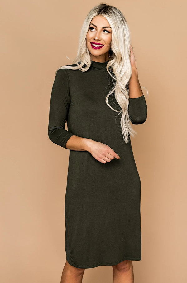 Mara Mock Neck Dress in Olive