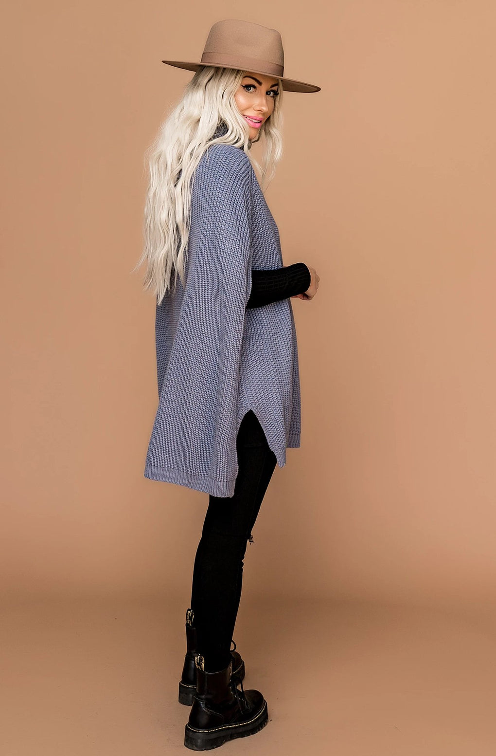 Oslo Ribbed Sweater Poncho