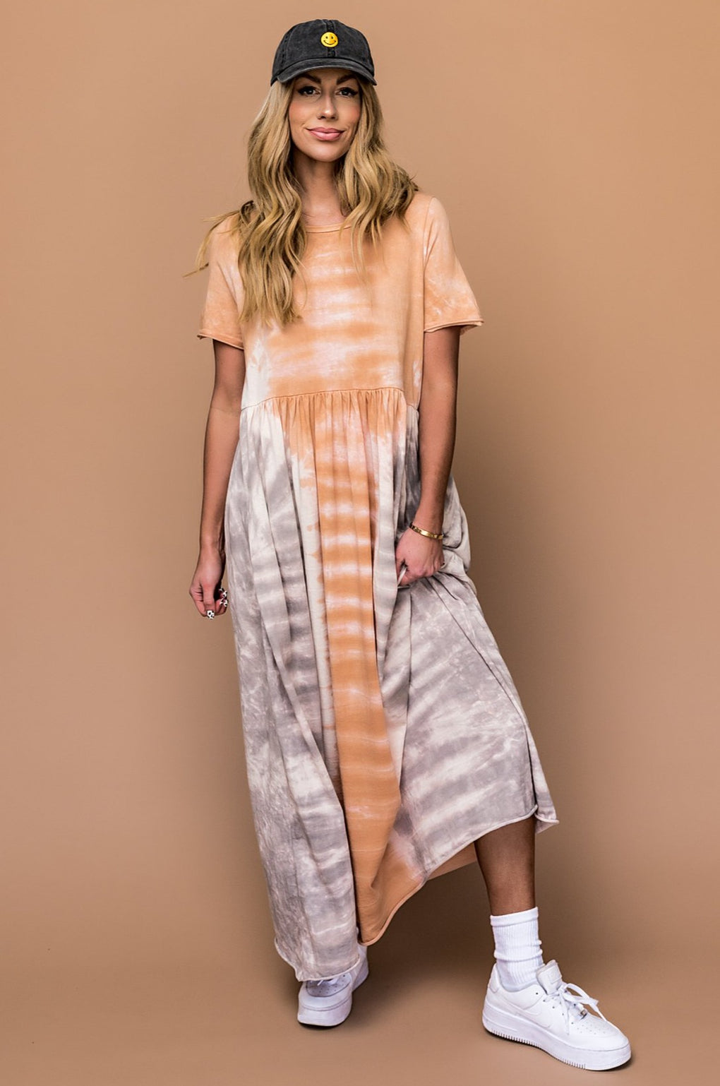 Here Comes The Sun Oversized Tie Dye Maxi Dress