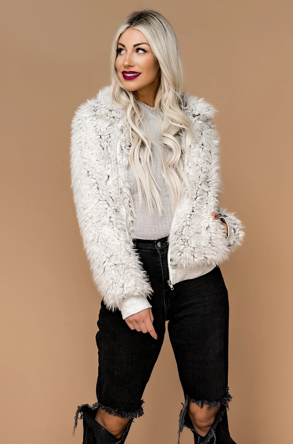Float Like a Butterfly Faux Fur Jacket