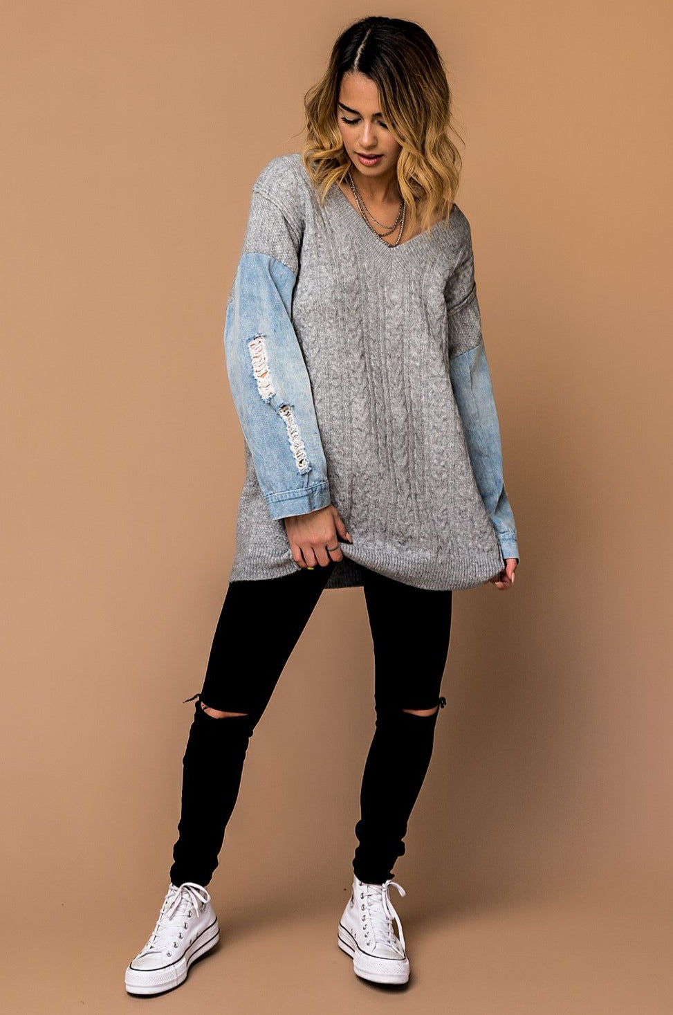 Half Moon Oversized Denim Sleeve Sweater