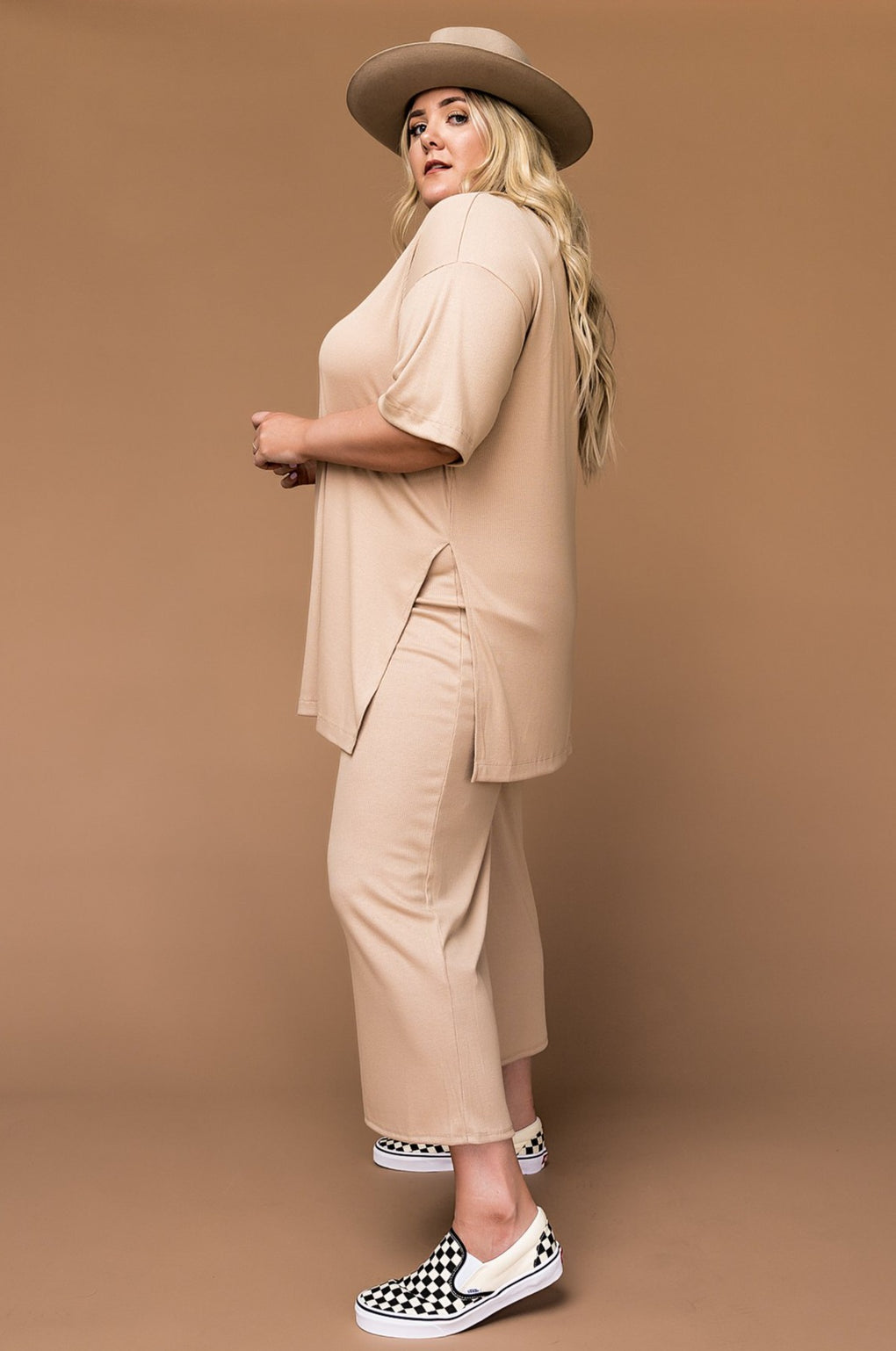 LALA ORIGINAL DESIGN: Lex Ribbed Playsuit in Chai Latte *New & Improved*